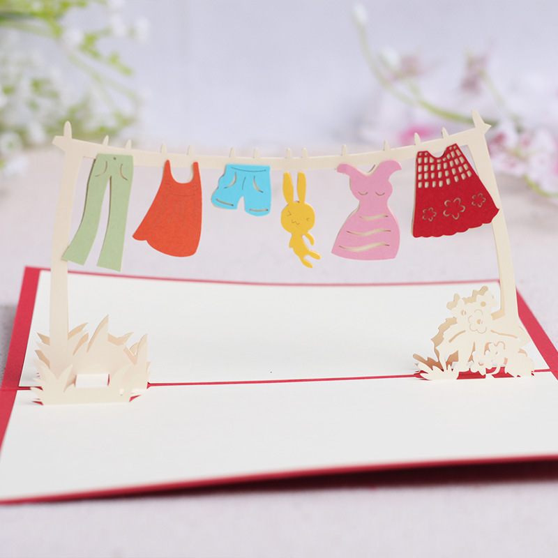1pcs/lot,3D pop up greeting card Children blessing design,Festival ...