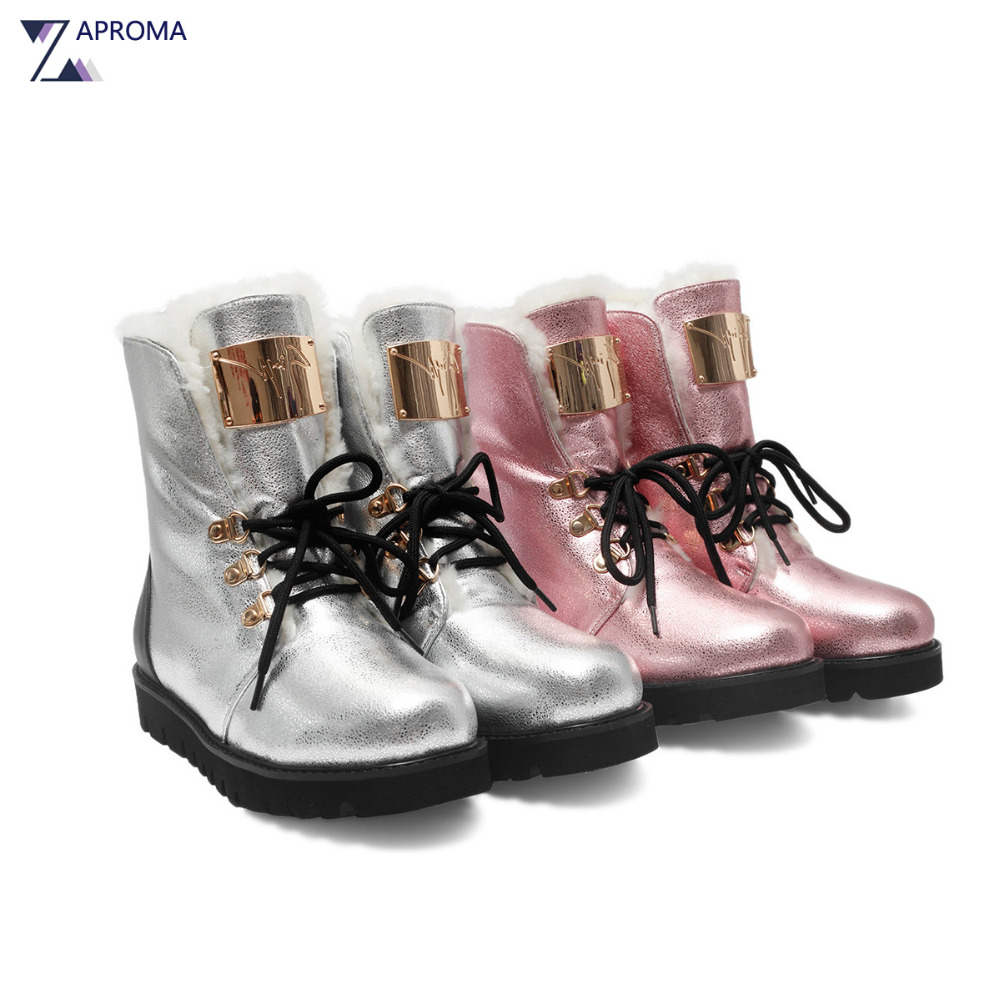 Cow Leather Women Snow Boots Handmade Silver White Pink Lamb Wool Warm Shoes Winter 2018 Med Heel Platform Ankle Fur Short Boot 2017 cow suede genuine leather female boots all season winter short plush to keep warm ankle boot solid snow boot bota feminina