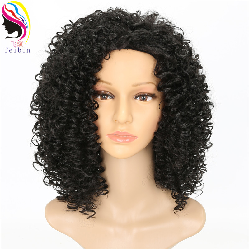 Feibin Short Afro Wigs for Black Women Kinky Curly Ombre Blonde Nature African Synthetic