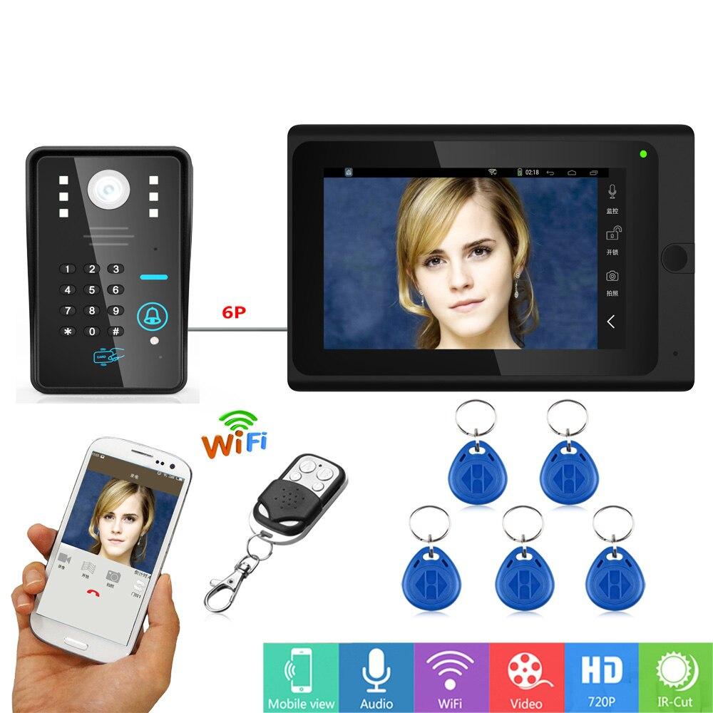 """Güvenlik ve Koruma'ten Video Interkom'de 7 """"kablolu/kablosuz Wifi RFID şifre görüntülü kapı telefonu zil interkom sistemi desteği uzaktan APP kilitleme  kayıt  anlık title="""