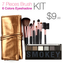 7 Makeup Brushes in Sleek Golden Leather-Like Case Portable with 6 Colors Eyeshadow Palette Gift Kit