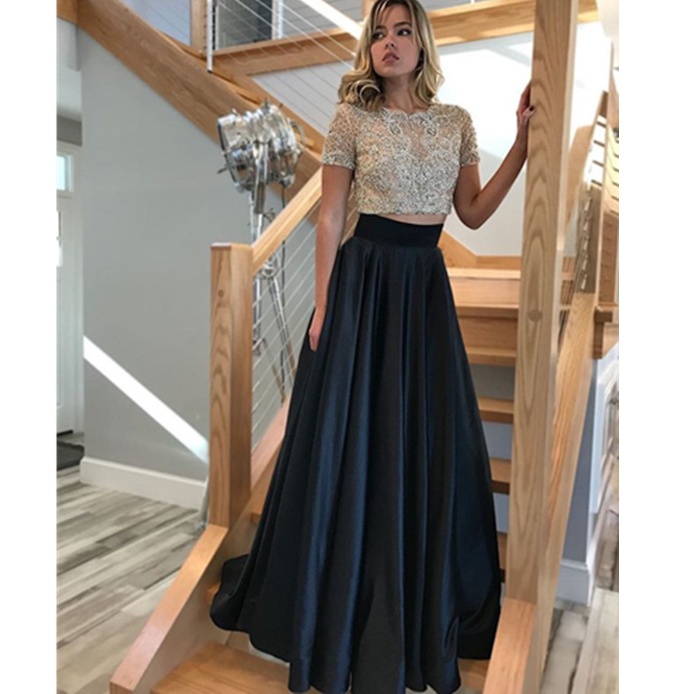 78ded023a23e9 US $132.26 10% OFF|Baijinbai Beaded Two Piece Ball Gown Prom Dresses  Illusion Top Short Sleeves Pageant Evening Gowns Party Dress with  Pockets-in Prom ...