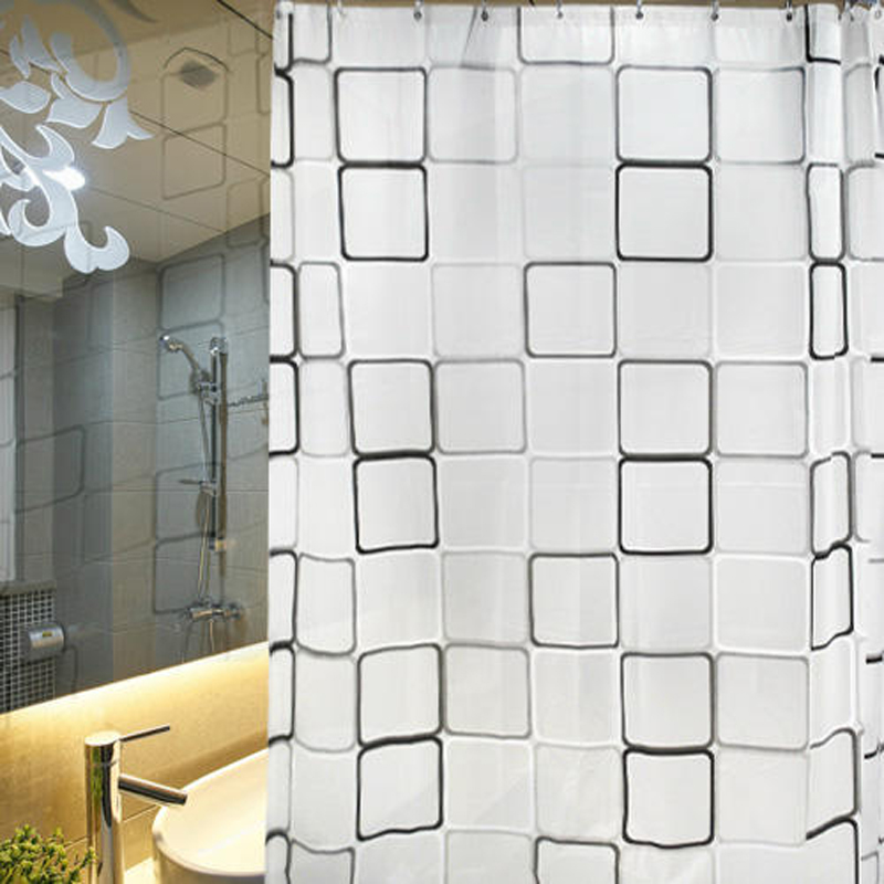 Waterproof Shower Curtain With Hook Plaid Bathroom Curtains High Quality Bath Bathing Sheer For Home Decoration15