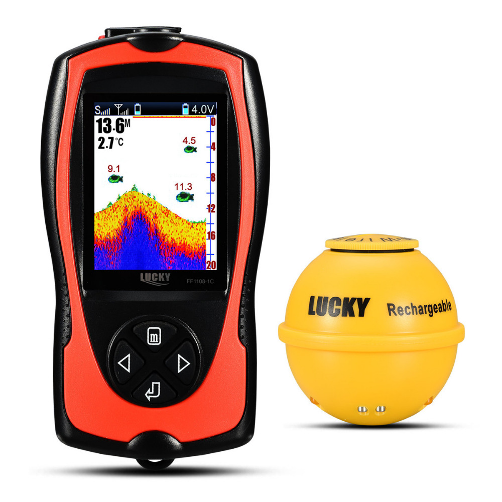 2019 New LUCKY FF1108 1CWLA Wireless Sonar Fish Finder Transducer ICE Ocean Boat Fish Finder Alarm