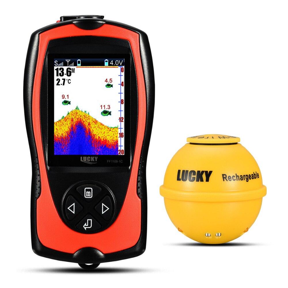 2019 nouveau FF1108-1CWLA chanceux sans fil Sonar détecteur de poisson transducteur glace/océan/bateau détecteur de poisson alarme détecteur de poisson Sonar capteur poisson