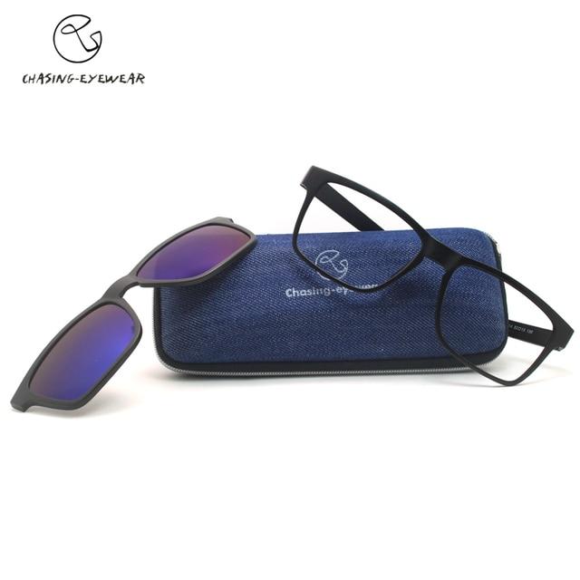 2016 imanes marco de anteojos TR90 Alta calidad UV gafas de sol polarizadas miopía masculina mujeres de los hombres gafas de marco CS2014S