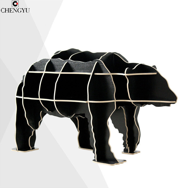 Modern Creative Assembly Logs The Polar Bear SideDesk  Wooden Storage Shelf Household Furniture Side Table 75*60*130CM