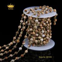 5Meter 6mm Bulk Fashion Chains Jewelry,Picture Stone Faceted Round Beads Wire Wrapped Plated Bronze Link Necklace&Bracelet HX034