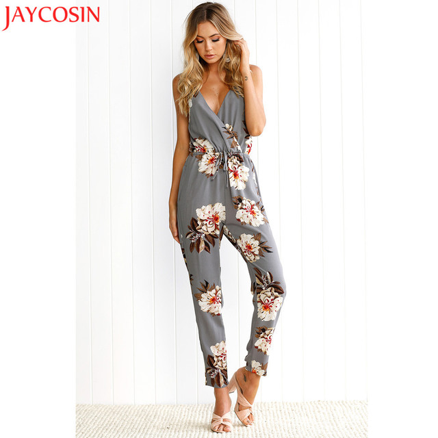 f6398f3ff292 Women Clubwear Sleeveless Floral Print Party Jumpsuit Playsuit Beach  Trouser 2017 Fall Cross Strappy Basic Jumpsuit Oct3130