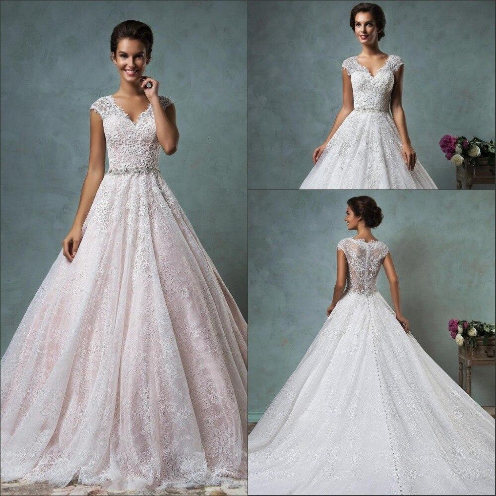 2016 Spring Summer A Line Wedding Dress Elegant V Neck Cap