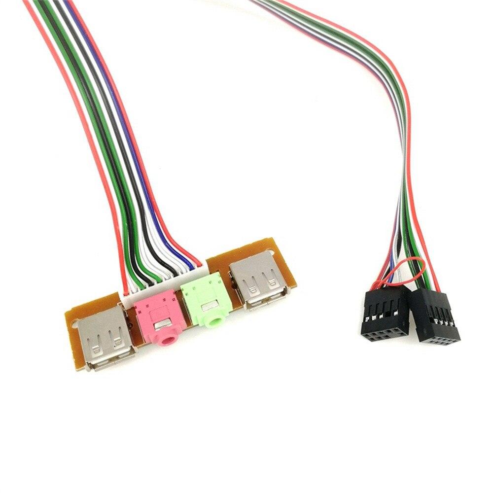 Panneau frontal 6.8CM pour ordinateur, 2 coques USB, Port Audio, micro, câble pour écouteurs, accessoires de vente en gros, adaptateur PC, addon # T2