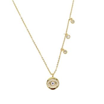 39fb352cc95d Lindo joyería de las mujeres de mal de ojo de la moneda colgante Collar con  3 piezas de pequeños puntos moda novia Collar chocker regalo 2019