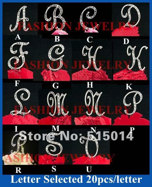 """Hot Sale !50pcs/lot 4.7""""/12cm Height Top Quality  Wedding Rhinesone Letter Cake Topper /Cake Decoration"""