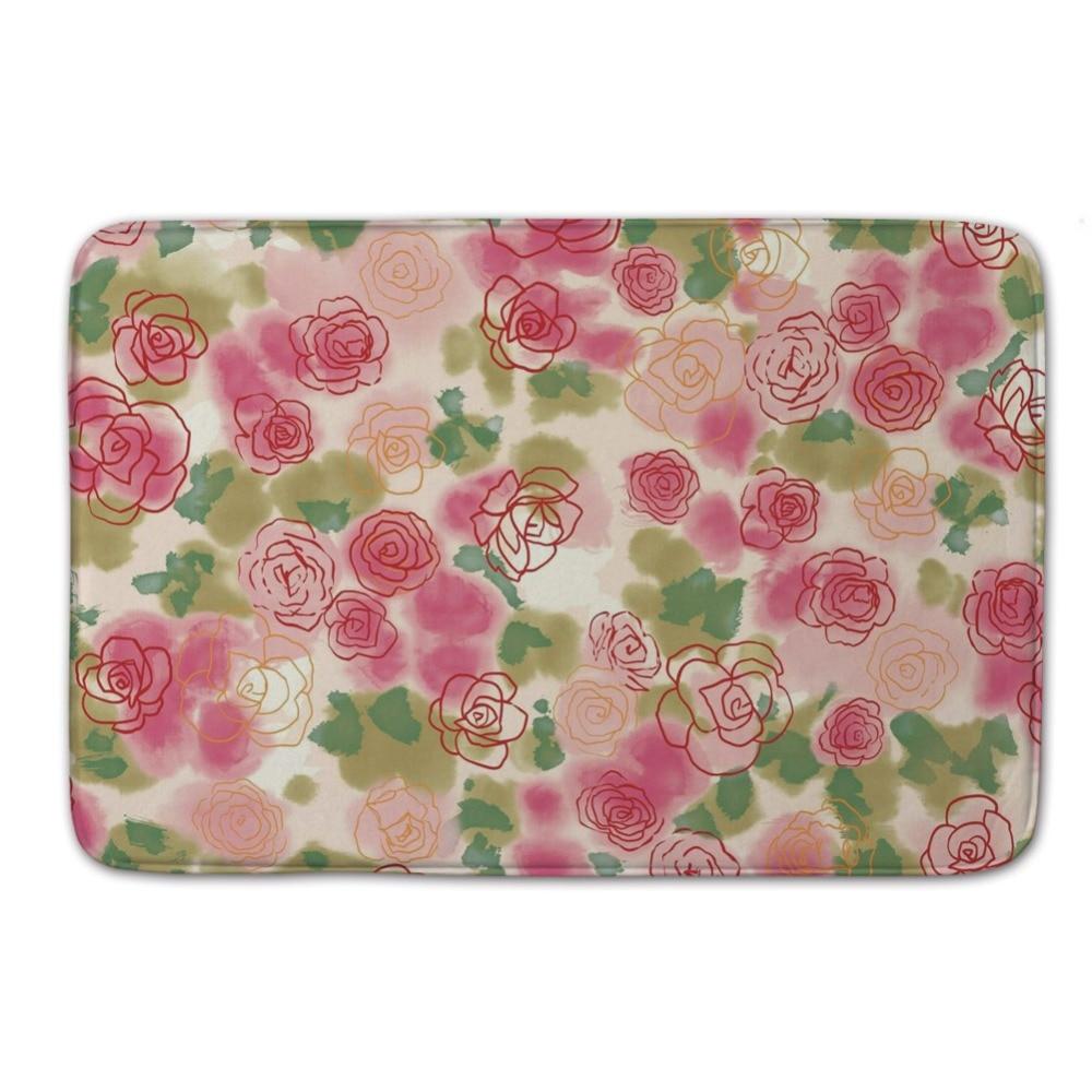 new arrival flower pattern of shoe door mat waterproof coral fleece kitchen area rugs custom floor mattress pad