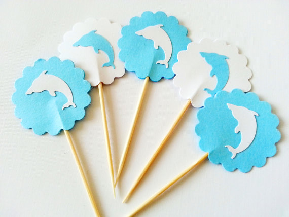 Jumping Dolphins cupcake toppers wedding Party Food Picks birthday toothpicks bachelorette bridal showers cake decorations