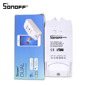 Image 1 - ITEAD SONOFF Dual 2CH 2 Gang Way 10A 220V 16A 3500W WiFi Wireless Smart Switch Light Remote Control DIY Timer Module Alexa Home