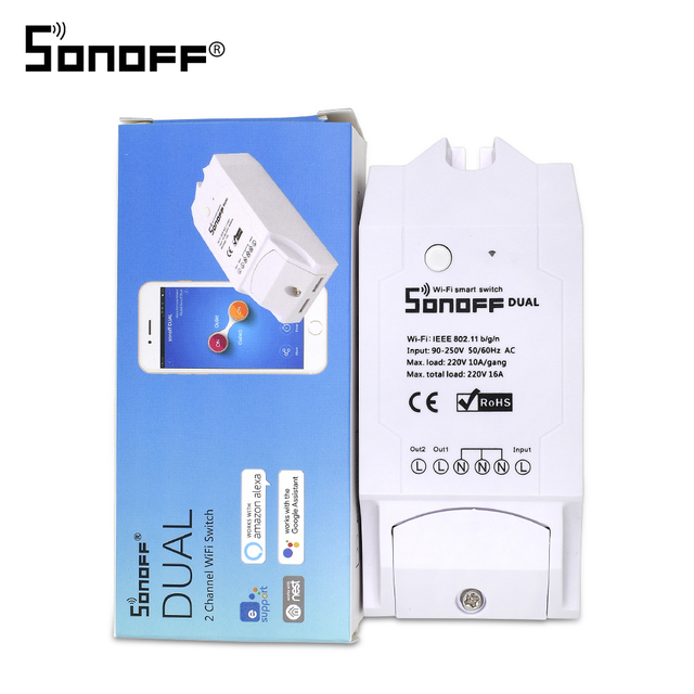 ITEAD SONOFF Dual 2CH 2 Gang Way 10A 220V 16A 3500W WiFi Wireless Smart Switch Light Remote Control DIY Timer Module Alexa Home