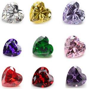 50pcs 3x3~15x15 AAAAA Heart Shape White , Voilet,Olive , Purple, Black, Pink Cubic Zirconia Stone Loose cz