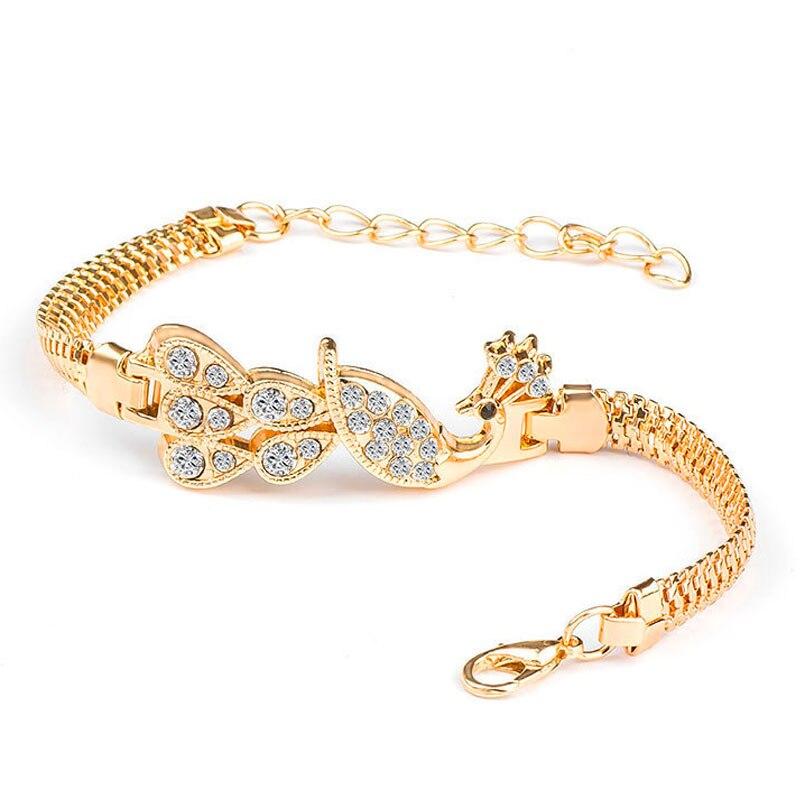 SHUANGR nouveau Vintage or serpent chaîne Bracelets et Bracelets avec strass paon breloques Bracelets pour femme bijoux cadeau