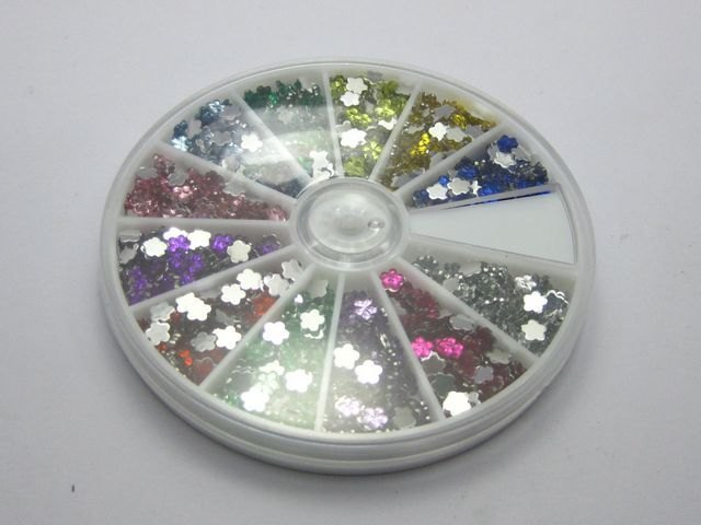 1200 Acrylic FlatBack Mini Flower Gems Rhinestones 4mm with Wheel 12 Colour Nail Art