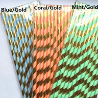 Biodegradable Party Straws,Mint Green/Blue/Coral and Metallic Gold Striped Paper Straws for Wedding Foil Gold Drinking Decor