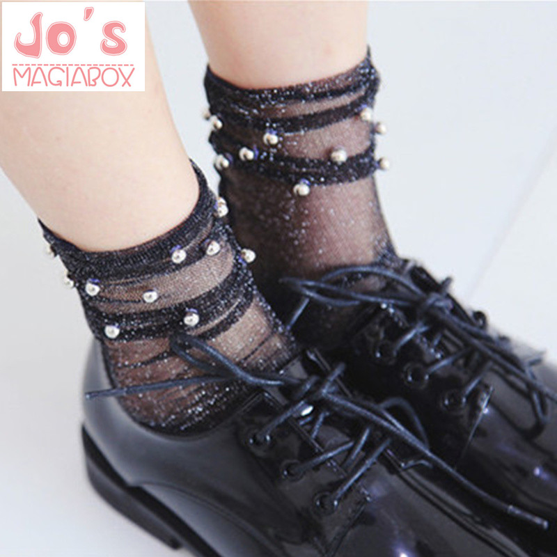 Japan JK Lolita Solid Bead Hollow Out Lace Full Women's  Socks Cute Cotton Hosiery Casual Sock Slippers Harajuku