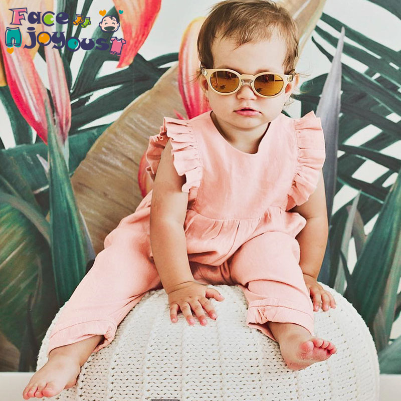 Infant Baby Girls   Rompers   Kids Solid Color Ruffles Cotton   Romper   Sleeveless Outfits Jumpsuit Baby Girl Clothes