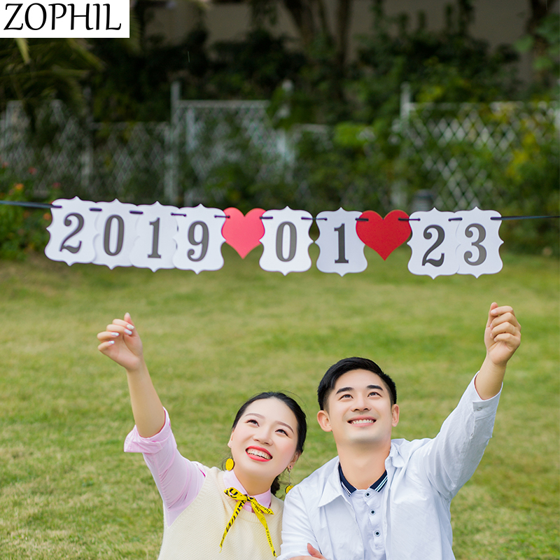 Wedding Event Decoration Car Number Heart Hanging Banner Garland Bunting Happy Birthday Party Anniversary Festival Events Boda