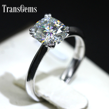 Transgems 18k White Gold 2 carat  7mm*8mm F Color Cushion Cut Moissanite Engagement Ring For Women Solitare with Accent jewellwang 18k white gold six prong setting crown 0 5 carat color level j k g i f g d e moissanites engagement rings for women
