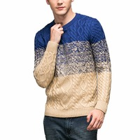 Men S Casual Gradient Sweater Cable Knit Crewneck Slim Fit Basic Knitwear Outerwear Sweaters Pullover Boyfriend