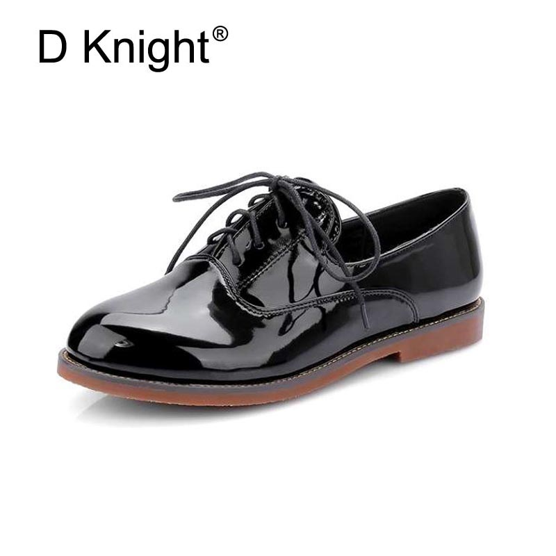 Fashion Patent Leather Lace Up Women Flat Oxford Shoes Vintage England Style Round Toe Flats For Women Ladies Casual Flat Shoes hot sale mens italian style flat shoes genuine leather handmade men casual flats top quality oxford shoes men leather shoes