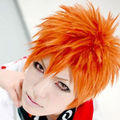 Anime Bleach Kurosaki Ichigo Cosplay Wig Orange Short Synthetic Hair Cheap Men Costume party Wigs+Free wig cap