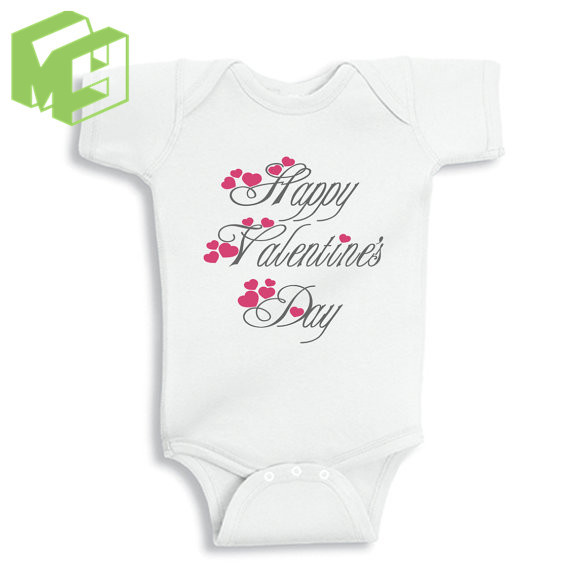 43a9d7c00 Happy Valentines Day baby short sleeved White Onesie for 0-12M Newborn baby  outfit Girl/Boy white romper New Mom/Dad