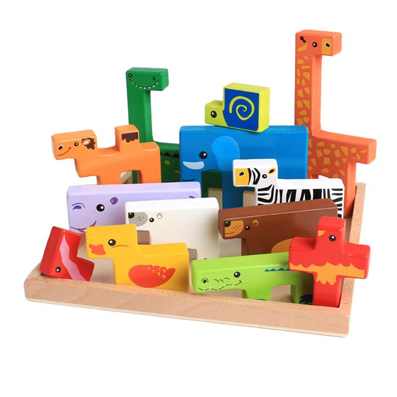 Wooden Cartoon Puzzles Wild Animals Shape Toys Board Games Wooden Puzzles Board Educational Toys Gift for Kids Childen ball run track game toy wooden puzzles diy mini tree baby kids education puzzles fun kids toys m3011