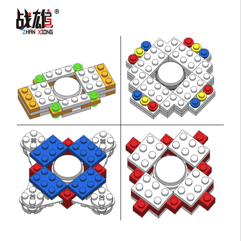 4 Styles Building Blocks Fidget Spinner Stress Relief Toy Assembly DIY Spinner Cube Gyro for Children Kids
