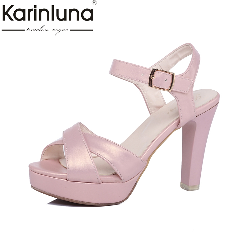 Karinluna Hot Sale Spike High Heels Ankle Strap Summer Sandals Women Shoes Platform Large Size 33-43 Woman Footwear Shoes