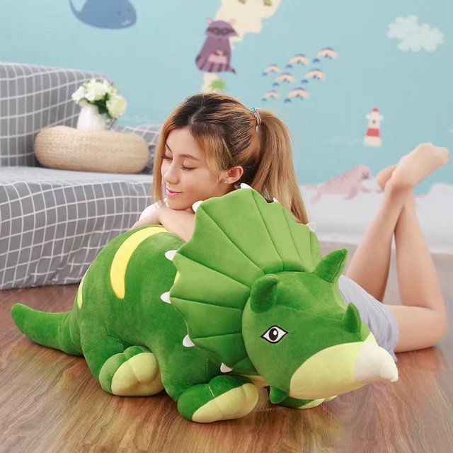stuffed plush toy large 90cm cartoon Triceratops green dinosaur plush toy plush toy soft doll pillow birthday gift s0244 large 90cm cartoon pink prone pig plush toy very soft doll throw pillow birthday gift b2097