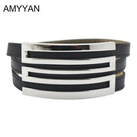 Multilayer Charm Bracelet Punk Silver Adjustable Stainless Steel Leather Wrap Bracelet Women's Jewelry Accessaries High Quality