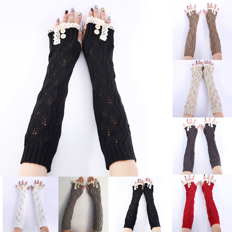 Women's Winter&Autumn Christmas Cashmere Blend Knitted Long Gloves Solid Color Fashion Warm For Lady