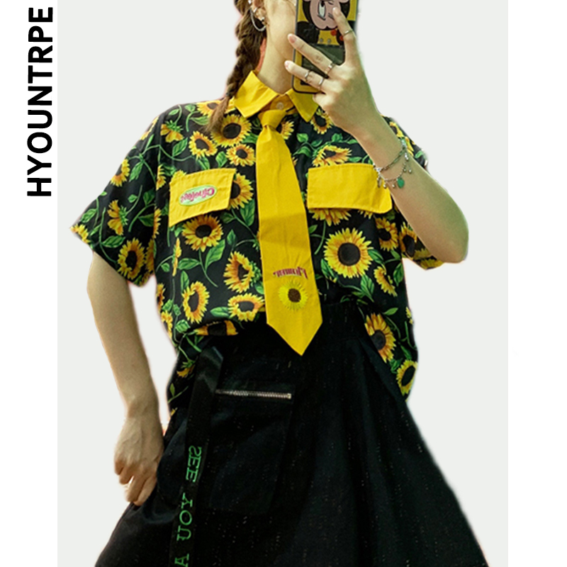 Harajuku Shirt Blouse Women Floral Printed Short Sleeve Tops Shirt with Necktie New Fashion Skateboard Streetwear Hip Hop Shirts