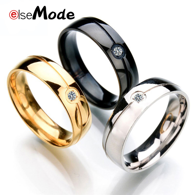 ELSEMODE Fashion Cubic Zircon Slash Simple Wedding Rings Black Gold Steel Color