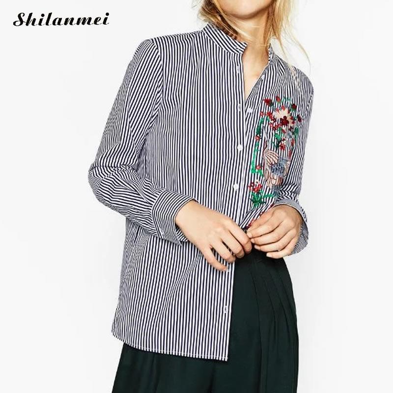 Bordados de Flores de primavera Camisa de Manga Larga Mujer Blusas Y Camisas de
