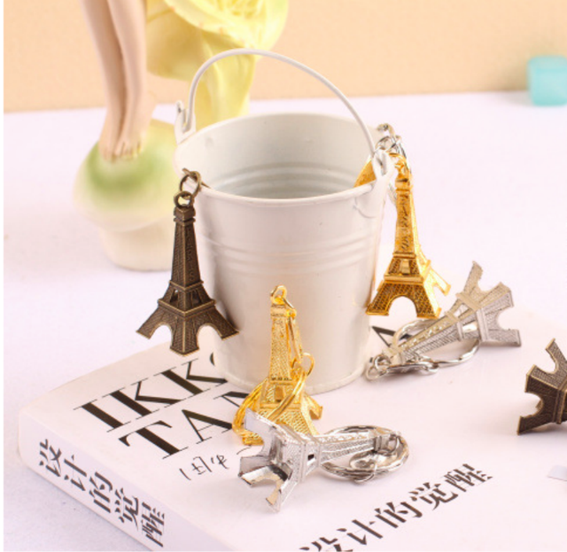 80pc Paris Eiffel Tower Gold Silver Bronzed Keychains Wedding Gifts For Guests Rustic Vintage Favors