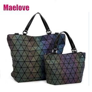 Image 1 - Maelove Luminous bags Women Geometry lattic Sequins Mirror Saser Plain Folding Bags Casual Tote bag Hologram Free Shipping