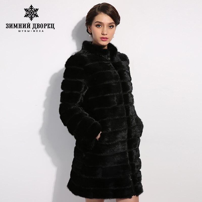 2017 Mode Mince De Fourrure Chaude Tat Vison manteau de fourrure, vison manteau de fourrure véritable, Col Mandarin, noir Solide manteau de vison