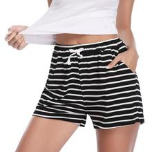 Hawiton/Европейский стиль, домашние пижамные штаны, женские шорты, повседневные хлопковые короткие женские шорты для фитнеса, на шнуровке, полосатые шорты для сна