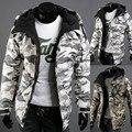 Roupas de camuflagem vento do novo fundo de 2016 invernos do outono de algodão-acolchoado roupas homens encapuzados juventude versão popular quente jaqueta com zíper