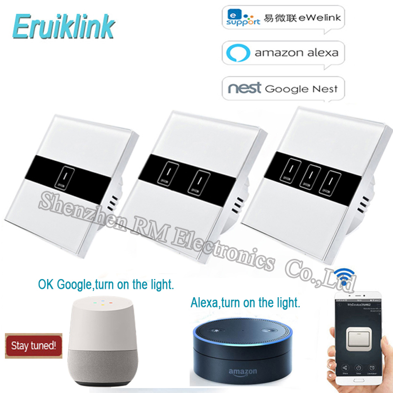 Eruiklink EU Standard 1/2/3 Gang Wifi Control Switch via Ewelink APP, Wireless Control Light Touch Wall Switch for Smart Homne ewelink us type 2 gang wall light smart switch touch control panel wifi remote control via smart phone work with alexa ewelink
