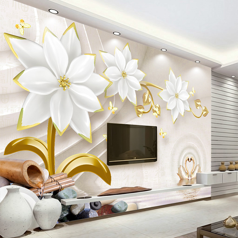 Custom Any Size Photo Background Wall Murals Soft Large Flower Wall Covering BedRoom Wall Murals Modern WallPaper Home Decor custom any size modern wall wallpaper eiffel tower arches leaves luxury wall covering bedroom mural background wallpapers