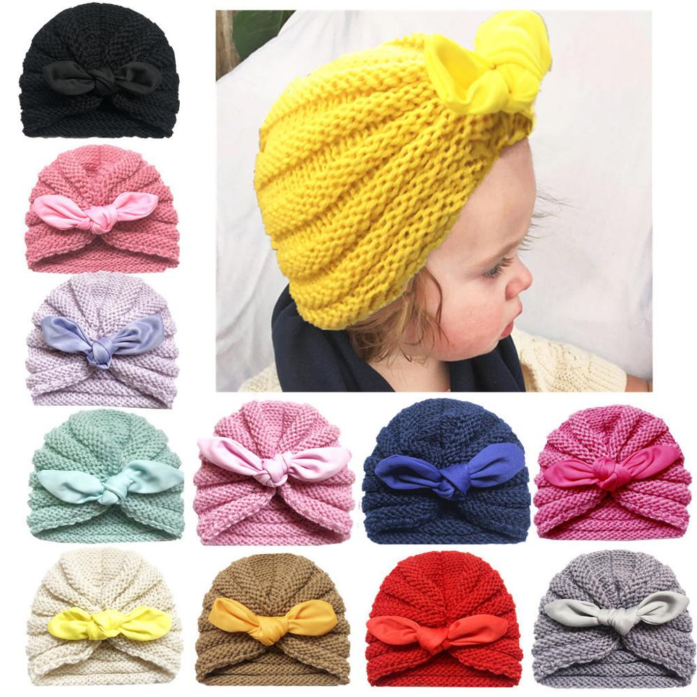 2019 Knitted Winter Baby Hat for Girls Candy Color Bonnet Enfant Baby   Beanie   Turban Hats Newborn Baby Cap children's winter hat